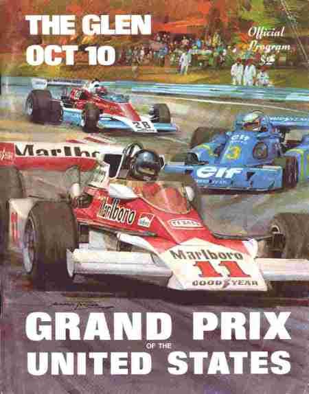 Cartaz promocional do Grande Prêmio dos EUA de 1970 - em Watkins Glen