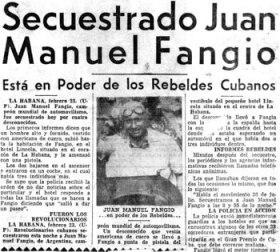 Notícia do sequestro de Juan Manuel Fangio.