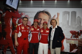 Domenicali e Montezemolo, os manda-chuvas, com seus pimpolhos, Alonso e Massa.