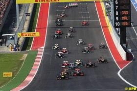 Fonte: Autosport.com - A largada para o Grande Prêmio dos EUA, em Austin, inaugurando o belíssimo circuito texano.