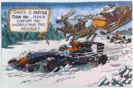O bem humorado cartão de Natal da Reb Bull. Tapa com luva de lomex.